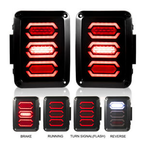 Led Tail Lights 2pc Brake Reverse Turn Signal Light Smoke For Jeep Wrangler Jk