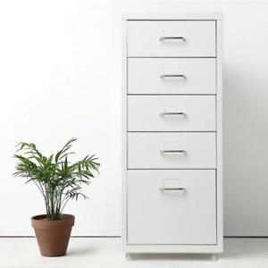 Ikayaa 5 Drawer Metal Mobile Filing Cabinet Home Office W 4 Casters White E2a6