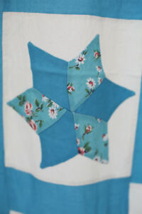 Vintage French Rustic Cotton Hand Made Quilt Stars C1950