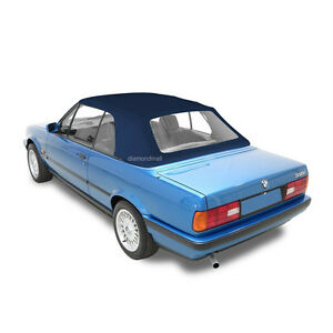 Bmw 3 series E30 Convertible Soft Top 1986 1993 With Plastic Window Blue Twill