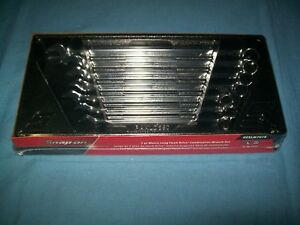 New Snap on 10 To 17 Mm 12 point Box Extra Long Wrench Set Oexlm707b Sealed