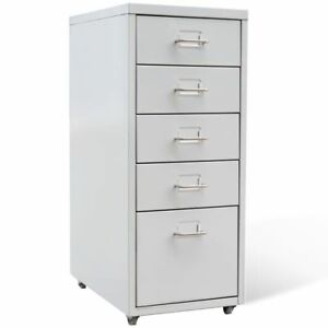 Home Office 5 Drawers Metal Filing Cabinet Organizer Files Storage Gray Color