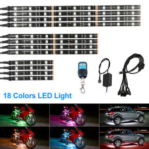 12pcs Universal Motorcycle Car Rgb Led Neon Under Glow Strip Lighting Kit 72 Led