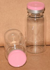 20 Ml Clear Sterile Vial With Baby Pink Plain Flip Cap Seal Qty 25
