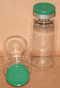 20 Ml Clear Sterile Vial With Green Plain Flip Cap Seal Qty 50