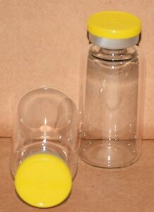 20 Ml Clear Sterile Vial With Yellow Plain Flip Cap Seal Qty 100