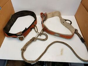 Lot 2 Vintage Klein Buhrke 5447 Linesman Climbing Safety Belt Medium Classic