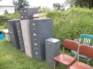 11 Pieces Mid Century Metal Drawer File Cabinet Library Filing Desk Chair Steel
