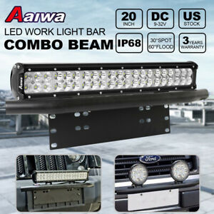 20 126w Cree Led Light Bar Bull Bar Front Bumper License Plate Mounting 23