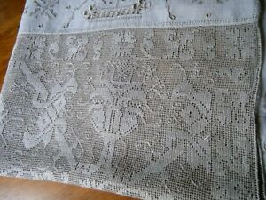 18c Antique Runner Linen Combo Emb Ery Leno Weave Ponto Tirato Needle Lace Italy
