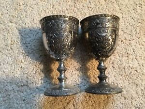Vintage Pair Of Silver Plate 5 Goblets