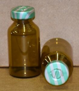 20 Ml Amber Sterile Vial With Green Stripe Center Tear Seal Qty 100