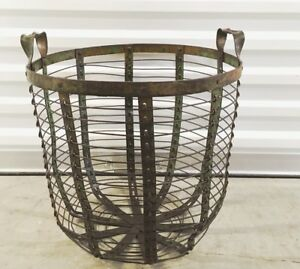 Antique French Green Wired Metal Potato Egg Harvest 2 Handle Basket