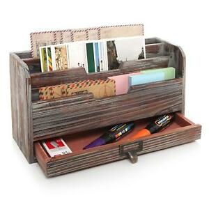 Mygift 3 Tier Country Rustic Torched Wood Office Desk File Organizer Mail Sorter