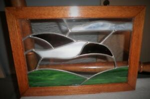 Vintage Original Framed Bird Motif Stained Glass Panel