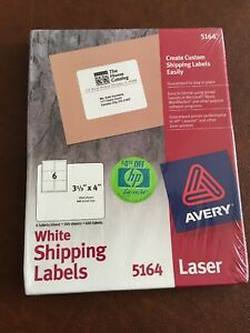 Avery 5164 Laser Shipping Labels 3 1 3 X 4 600 Labels 100 Sheets White New