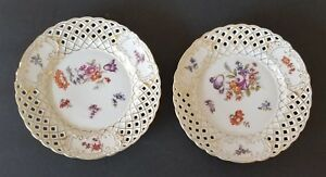 Antique Carl Tielsch 2 Pair Floral Design Reticulated 7 1 2 Plates Gold Trim