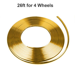26ft Car Wheel Hub Rim Trim Tire Ring Guard Rubber Strip Protector Glossy Gold