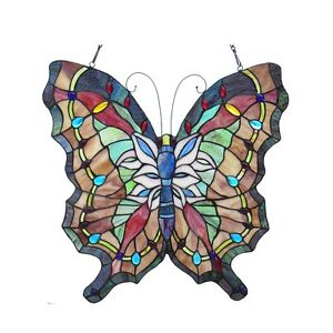 Vintage Butterfly Design Stained Glass Window Panel 22 Tall X 22 Wide