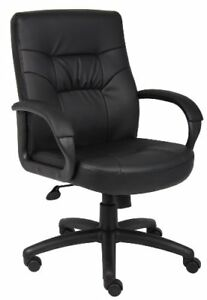 New Boss Office Products B7506 Executive Mid Back Leatherplus Chair In Black