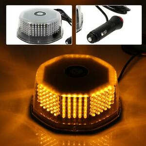 240 Led Flash Strobe Rotating Round Beacon Roof Top Emergency Light Amber 12 24v