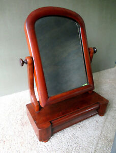 Antique Shaving Stand 19th C Empire Mahogany Wood Mirror Dovetailed Drawer