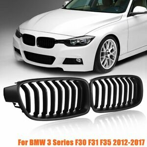 For Bmw 3 Series F30 F31 F35 2012 17 Pair Matte Black Front Kidney Grill Grille
