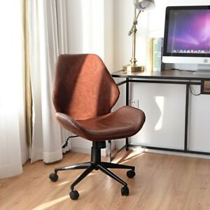 Office Home Pu Leather Leisure Mid back Upholstered Rolling Chair Soft Seats Us