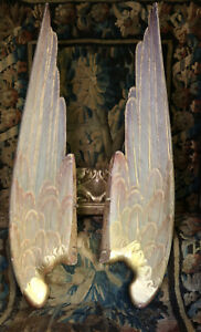 Antique Life Size French Carved Wood Angel Wings Architectural Church Salvage