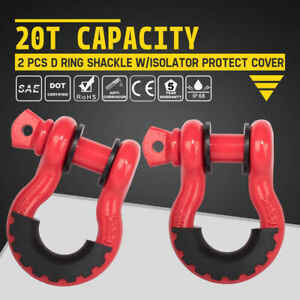 2pcs D Ring Shackle Red W Isolator Protect Cover Strap Winch Recovery Offroad