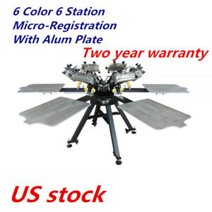 Micro registration 6 Color 6 Station T shirt Silk Screen Printing Press Machine