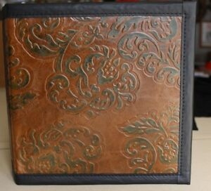 Elegant Chocolate W green Leaves Cowhide Leather 2 3 Ring Binder