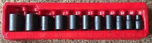 Snap on Tools 3 8 1 1 2 Drive 11 Piece Shallow Impact Socket Set Pakty209