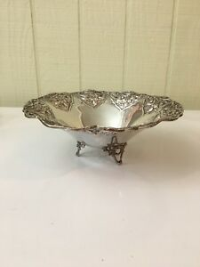 Vintage Footed Sterling Silver Nut Or Candy Dish