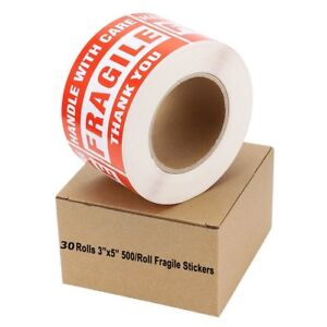 30 Rolls 3 X 5 Fragile Stickers Handle With Care Thank You Shipping Labels Red