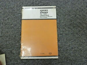 J I Case Tl 100 Trencher Owner Operator Maintenance Manual Book 9 8480 New