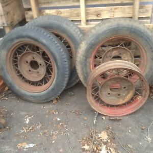 17 Ford wire wheels spoke rim hot rat rod 1933 34 adaptable Model A