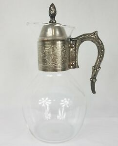 Vintage Glass Pitcher W Metal Handle And Flower Scroll Pattern Decanter