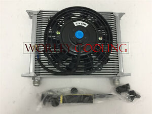 Universal 30 Row Engine Transmission Oil Cooler 7 Electric Fan Silver