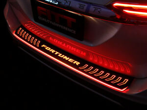 Rear Bumper Scuff Plate Guard Tailgate Cover Led For 2015 18 On Toyota Fortuner