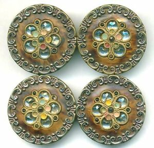 Set Of 4 Large Pretty Antique Victorian Celluloid Buttons With Glass Perforates