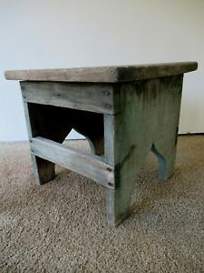 Antique Foot Stool Original Green Paint Primitive Wood 14 Long Footstool Bench