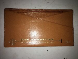 Vtg Nos Leather Pan Am Airlines Wallet Credit Card Holder