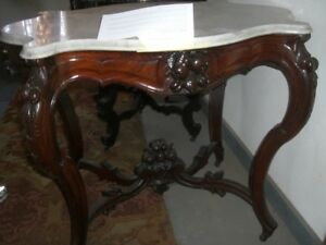 Antique Rococo Revival White Marble Top Table 1800 S