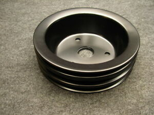 Black Triple Groove Lower Pulley For Swp Small Block Chevy Short Water Pump Gm