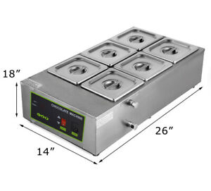 Six Pan Water Well Bain Marie Chocolate Tempering Melter Warmer Melting Machine
