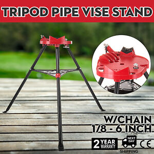 1 8 6 Tripod Pipe Chain Vise Stand W Steel Legs Rubber Mounts