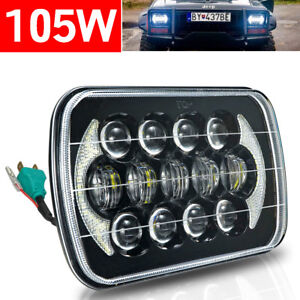1 Headlamp 5x7 7x6 Led Headlight Hi lo Beam Halo Drl For Jeep Cherokee Xj Yj