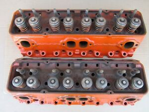 1967 Sb Chevy Cylinder Heads Pair 3890462 Camaro Malibu Nova 462 66 Small Block