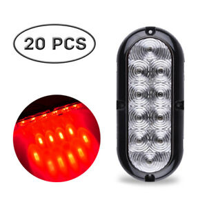 20x6 Clearence Red Oval Stop Turn Backup Reverse Tail Light Flange Mount 10led